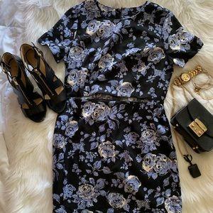 Floral Mid Drift Cut Out Dress